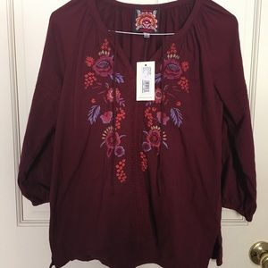 JWLA for Johnny Was Marcella Peasant Blouse Size S